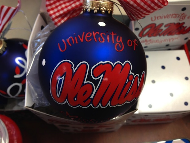 What's a Rebel fan's Christmas tree without Ole Miss ornaments? Turkoyz on  the Square has red, white and blue glass ornaments in the shape the Lyceum. - Top 5 Gifts For Ole Miss Fans - HottyToddy.com