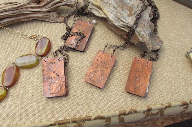 Journal necklaces by Nancy LaPlace Designs.