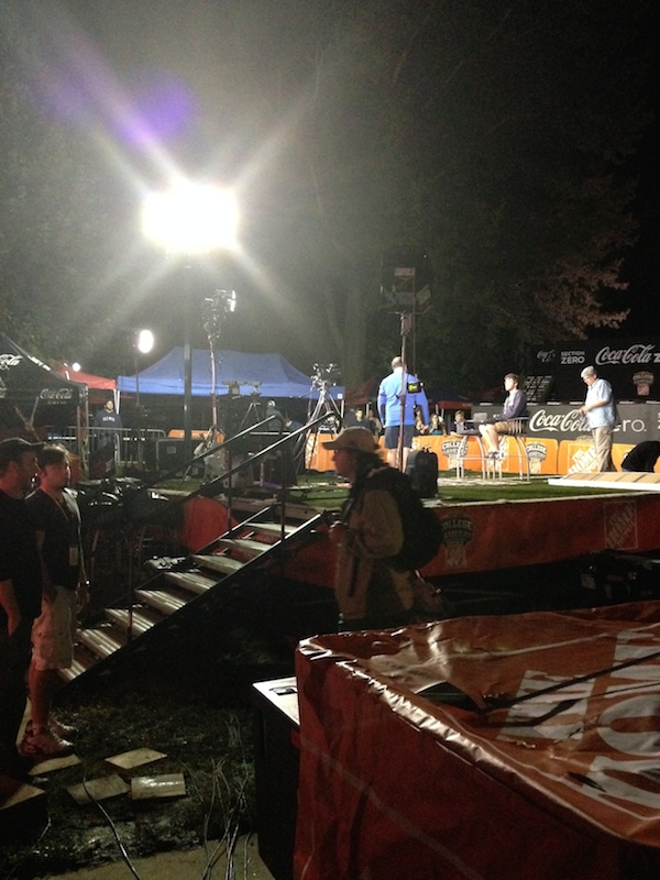 The stage set-up for College GameDay bright and early
