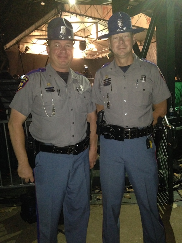 Mississippi Highway Patrol Officers Darrin Anderson, TCF and Joey Miller, CORP behind the scenes at College GameDay were just as excited as the rest of the fans