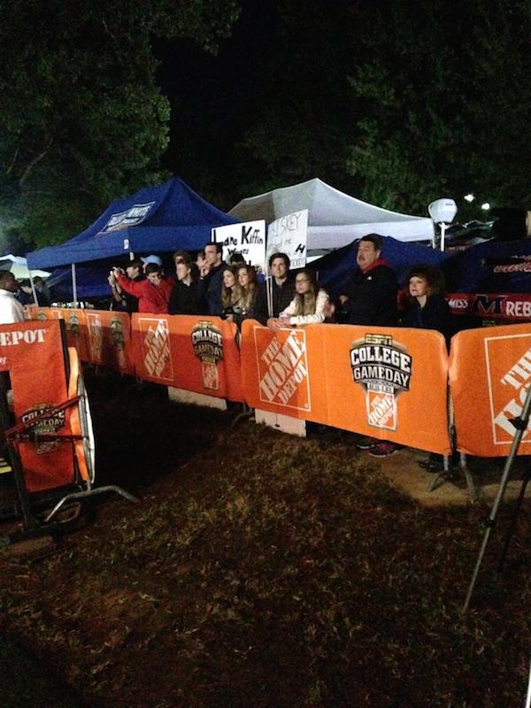 Fans huddle together preparing for College GameDay