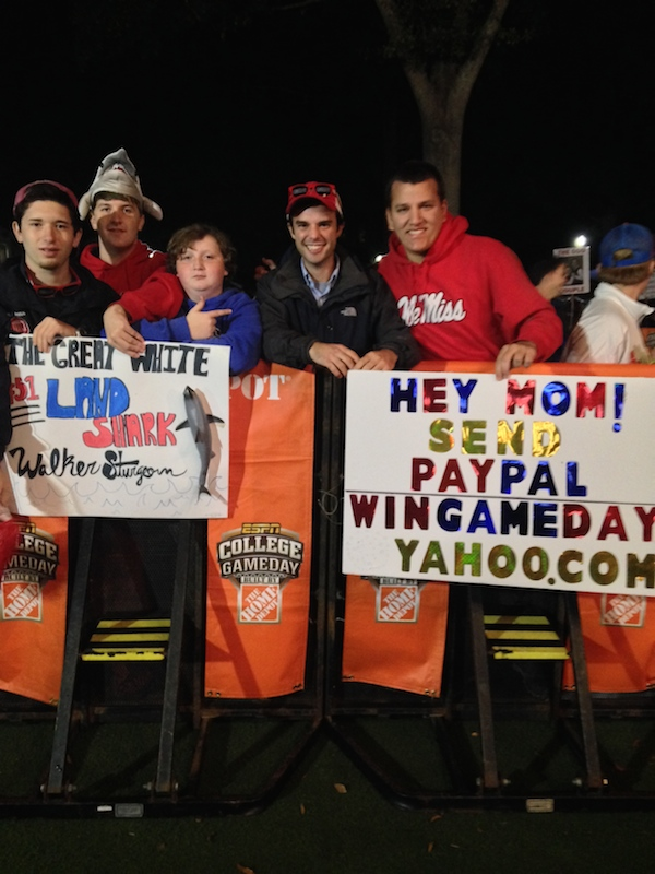 Ole Miss fans: Sam Case, Stephen Chavez, Rob Brown, Everett Gooch, and Tim Reed sporting their signs at College GameDay bright and early