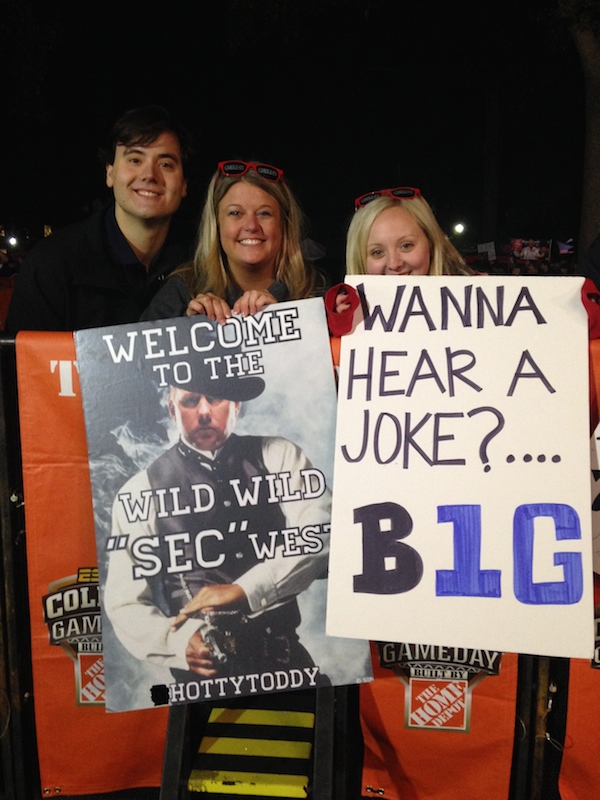 Ole Miss fans Jordan Wilkie, Amber Williams, and Heather Hammons show their support during College GameDay