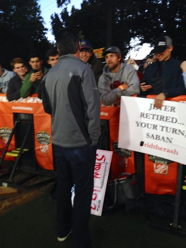Chris Fowler graciously meets and talks to the College GameDay crowds