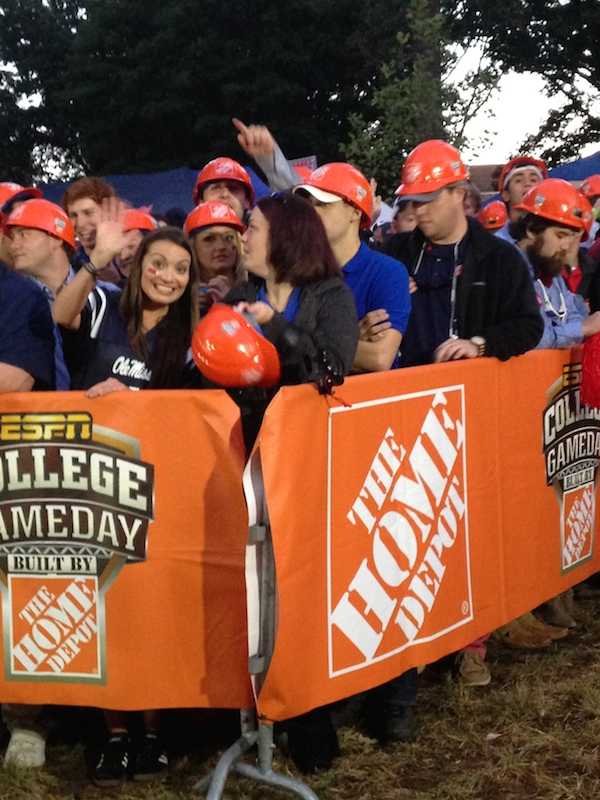Ole Miss fans sporting their hard hats for College GameDay