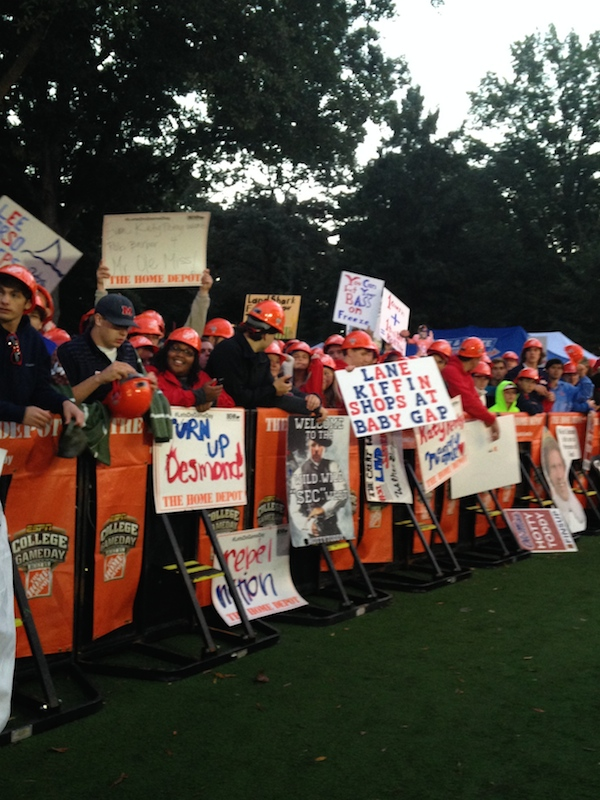Ole Miss fans sporting their signs during College GameDay