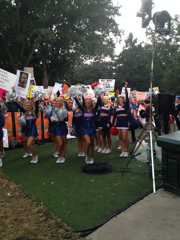Ole Miss cheerleaders cheering for the ESPN College GameDay cameras