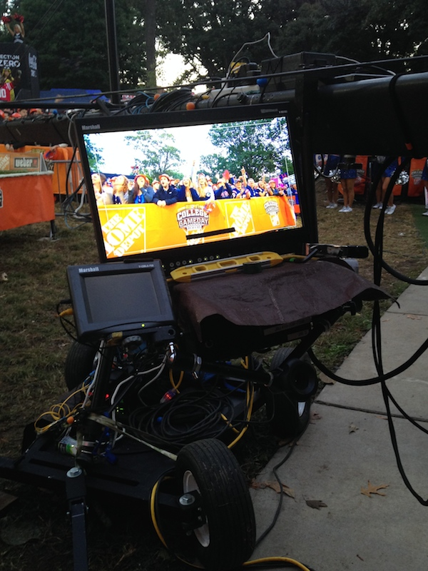 ESPN camera capturing the footage of the College GameDay crowds