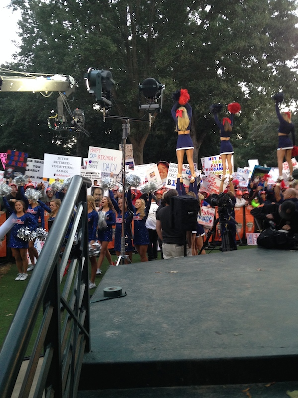 Ole Miss cheerleaders keeping the College GameDay crowds excited