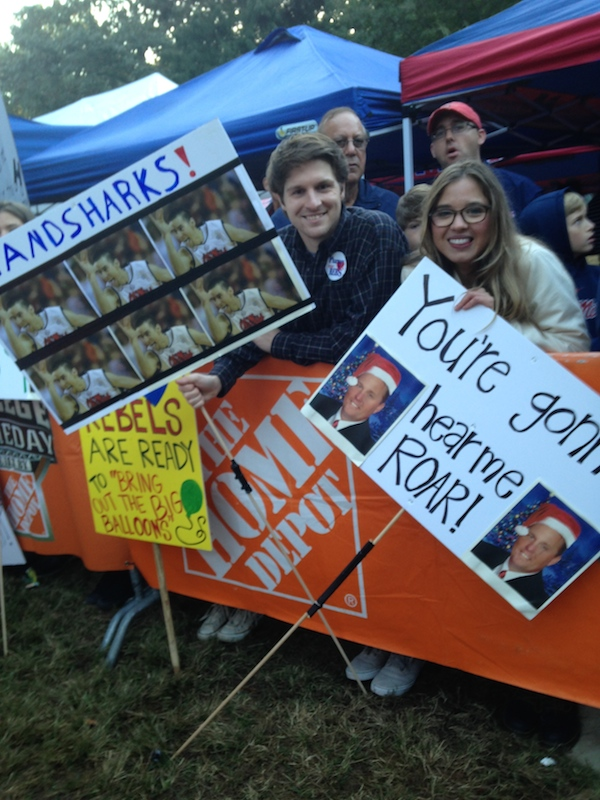 Ole Miss fans Tyler Slay and Paige Dukes show their support for College GameDay