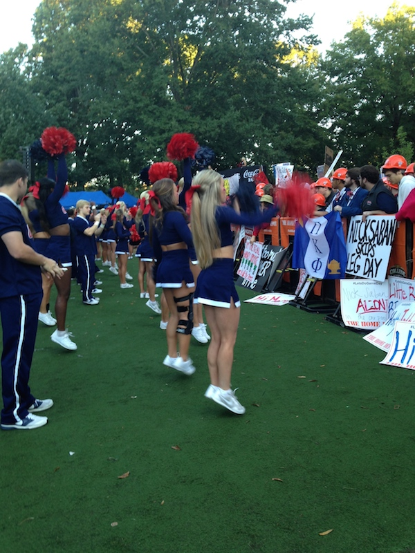 Ole Miss cheerleaders keep the crowds pepped up during College GameDay