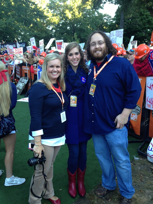 Kelsey Stephens, Ashley Crumby, and Joseph Dikun sport their behind-the-scenes passes for College GameDay