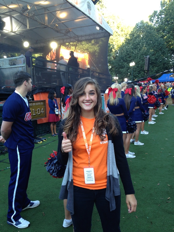 Staff writer Sam Mitchell shows her excitement for participating behind-the-scenes during College GameDay