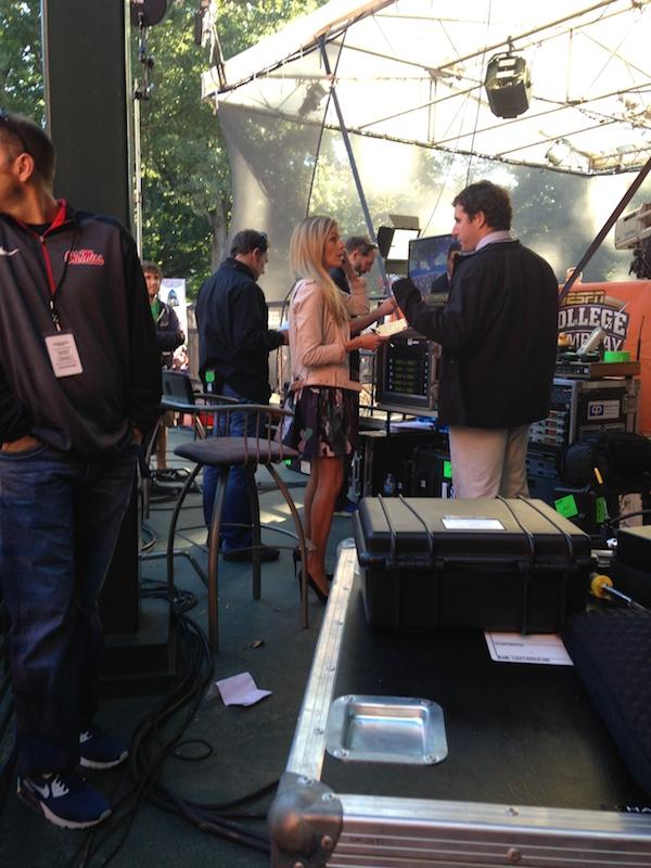 ESPN reporter Samantha Ponder working behind-the-scenes for College GameDay