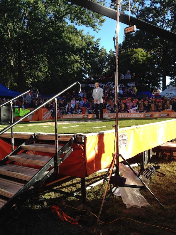 ESPN Tom Rinaldi working on the set of ESPN College GameDay