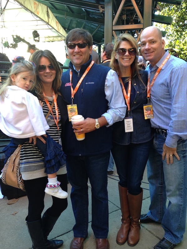 The excited Ole Miss family of Margaret Anne Alias, Mary Beech Alias, William Allias, Todd Servick, and Melinda Servick behind-the-scenes during College GameDay