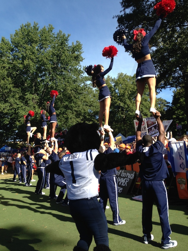 Rebel the Black Bear works alongside the Ole Miss cheerleaders to keep the crowds excited through the airing of College GameDay