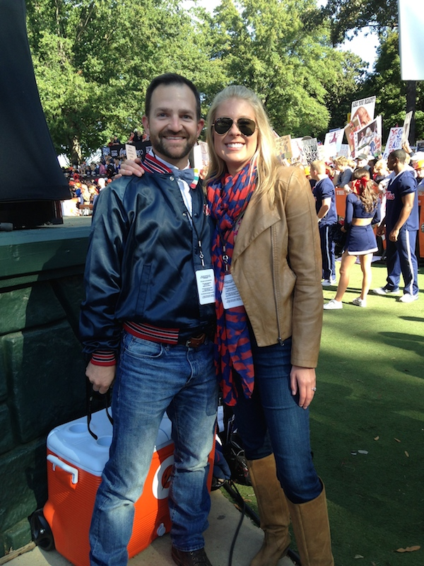Nick Kaminer and Professor Amanda Simpson show their excitement to be behind-the-scenes during College GameDay