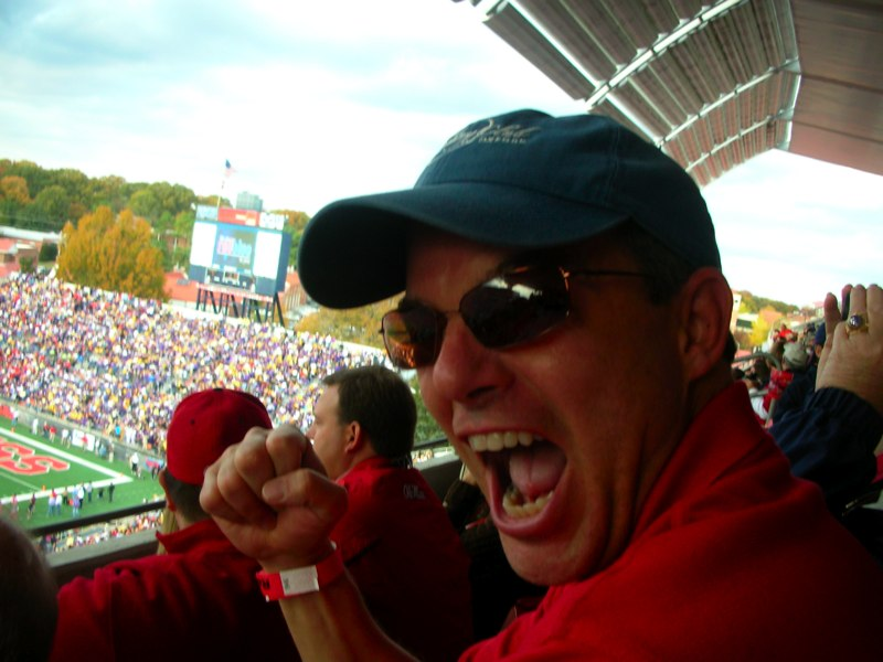 Fox News reporter Shepard Smith cheers on the Rebels at Vaught-Hemingway Stadium. / Photo courtesy of Fox News