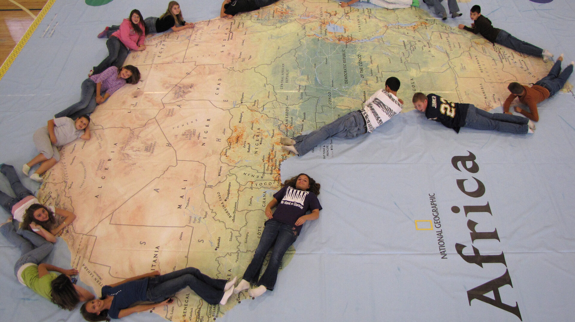 The Mississippi Geographic Alliance at the University of Mississippi is bringing the world's largest map of Africa to schools in Oxford and Lafayette County, among other locations across the state this month. Photo courtesy of Paul Schoenike