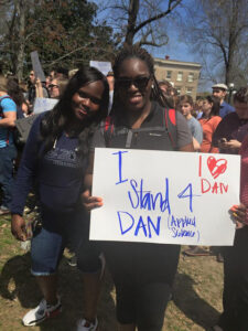 Students toted signs in support of Chancellor Dan Jones.