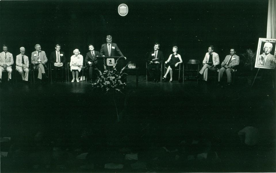 The First Day Issue ceremony on August 3, 1987 for William Faulkner postage stamp. (photo courtesy of James Hammons)