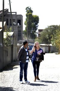 Lacey Russel walks down the street in Addis Ababa, Ethiopia, Wednesday, Jan. 14, 2015. (DM Photo | Cady Herring)