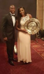 Robbye Poole with Serena Williams at the Wimbledon Champions Dinner.