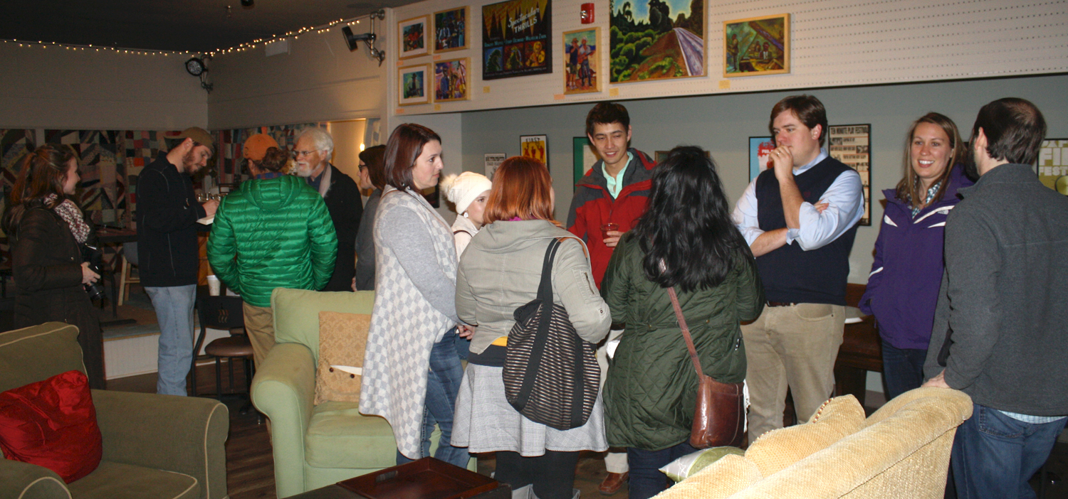 Patrons gather at the Shelter on Van Buren for the first Oxford Art Crawl of 2016 on Tuesday, Jan. 26. Photo by Jeff McVay