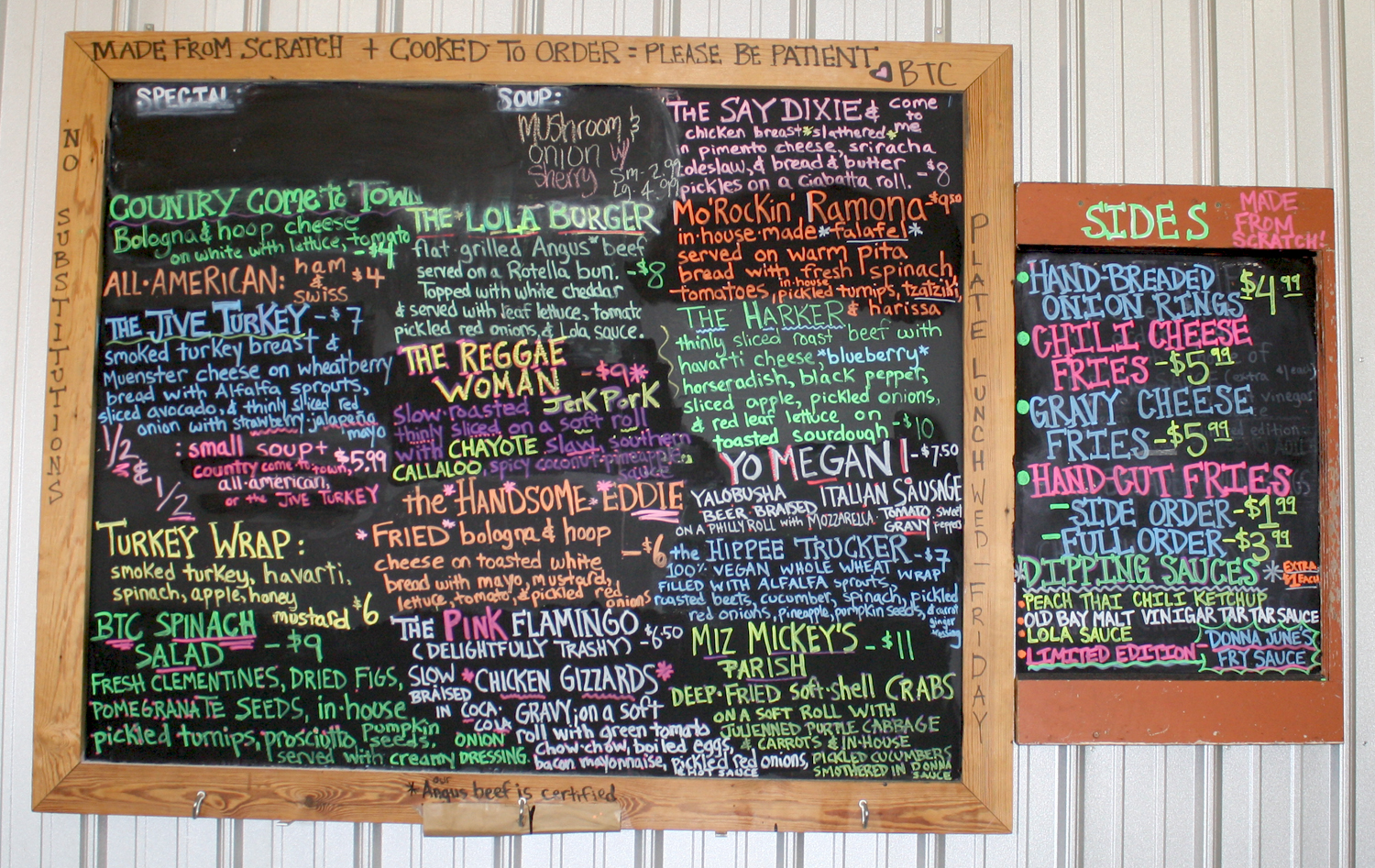 Chef Dixie Grimes' menu at B.T.C. Old Fashioned Grocery in Water Valley. Photo by Jeff McVay