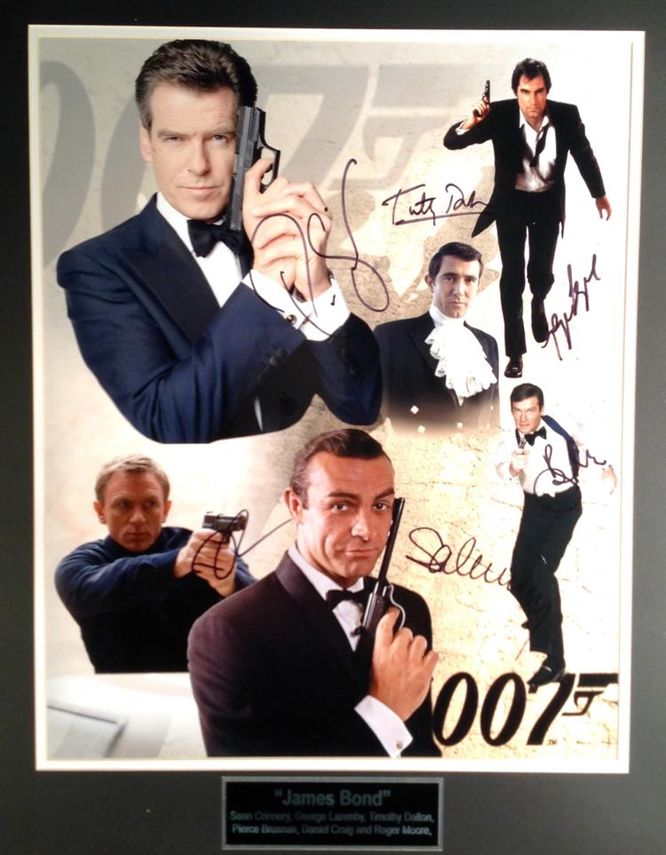 All 6 James Bond movie cast characters autographed - 16X20 Photo