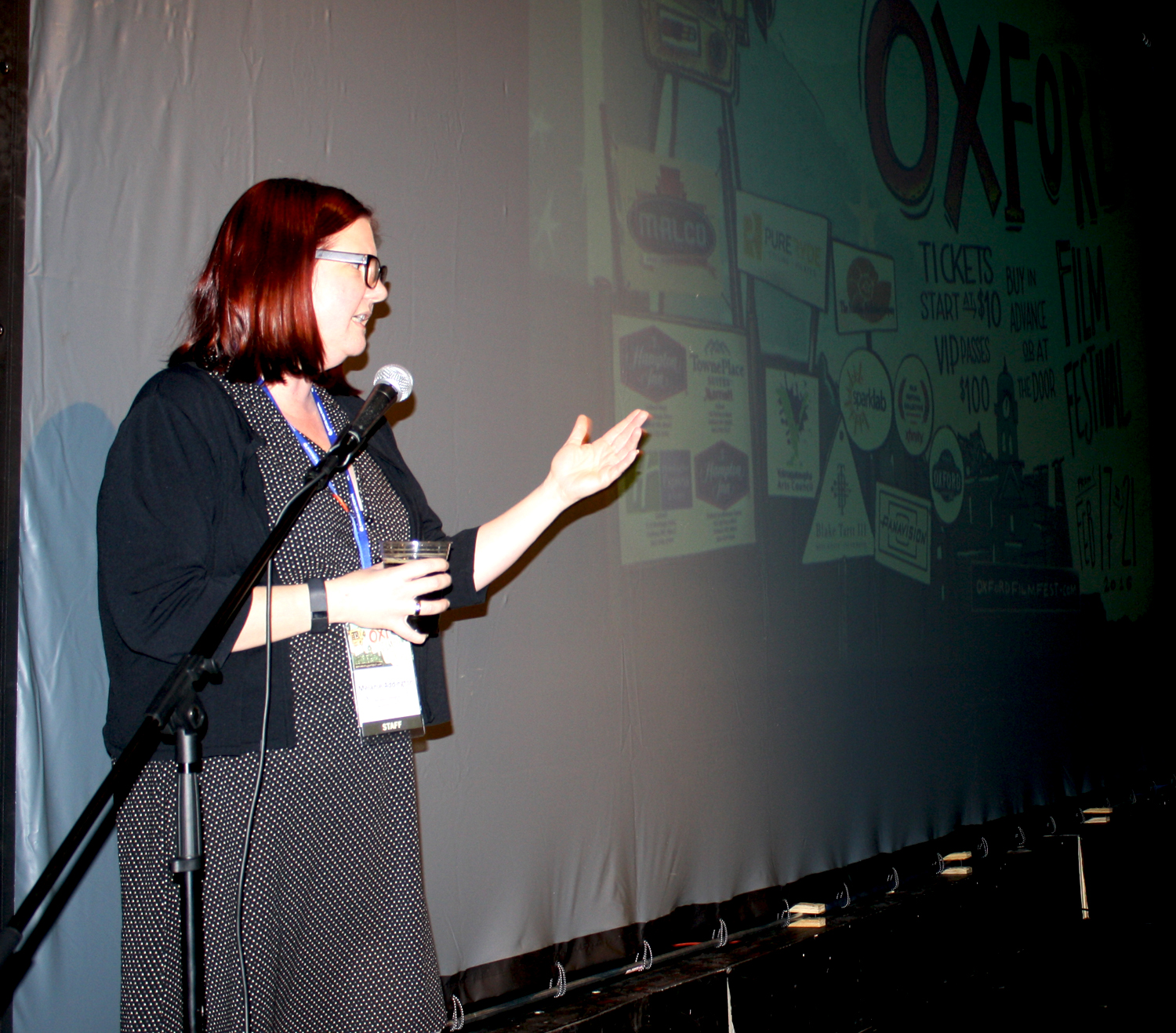 Off executive director Melanie Addington welcomes the masses to the 2016 Oxford Film Festival. Photo by Jeff McVay