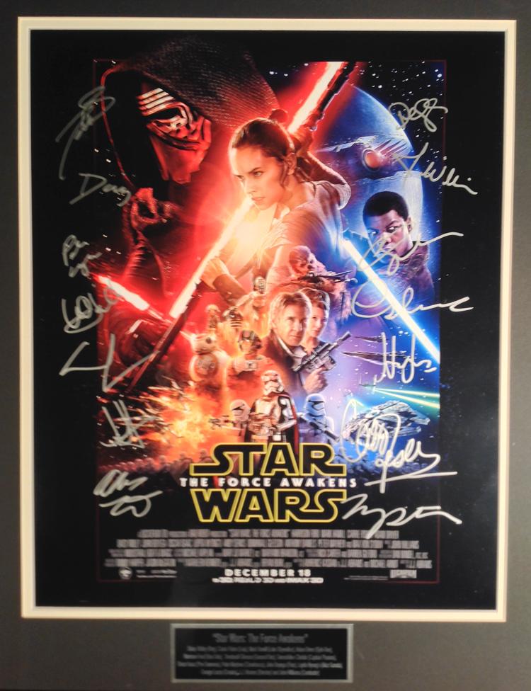 Star Wars Awakens cast autographed -16X20 Movie Poster