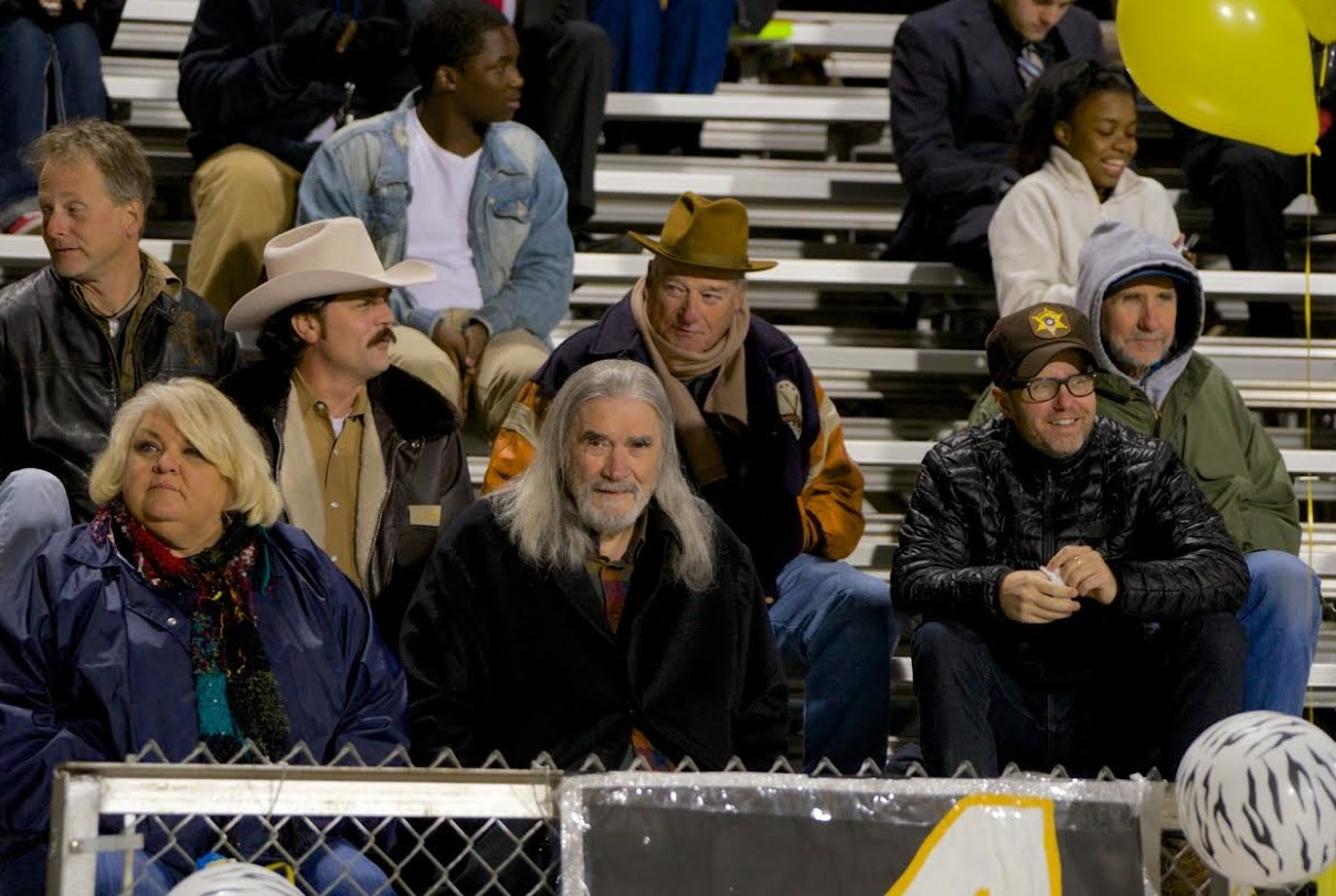 Johnny Dowers as Sheriff, Blake Clark as Stid, Johnny and Susan McPhail as Lanny and Becky, Rhes Low as Tim and Richard Jackson as Joe at Tiger Stadium at Charleston High School.