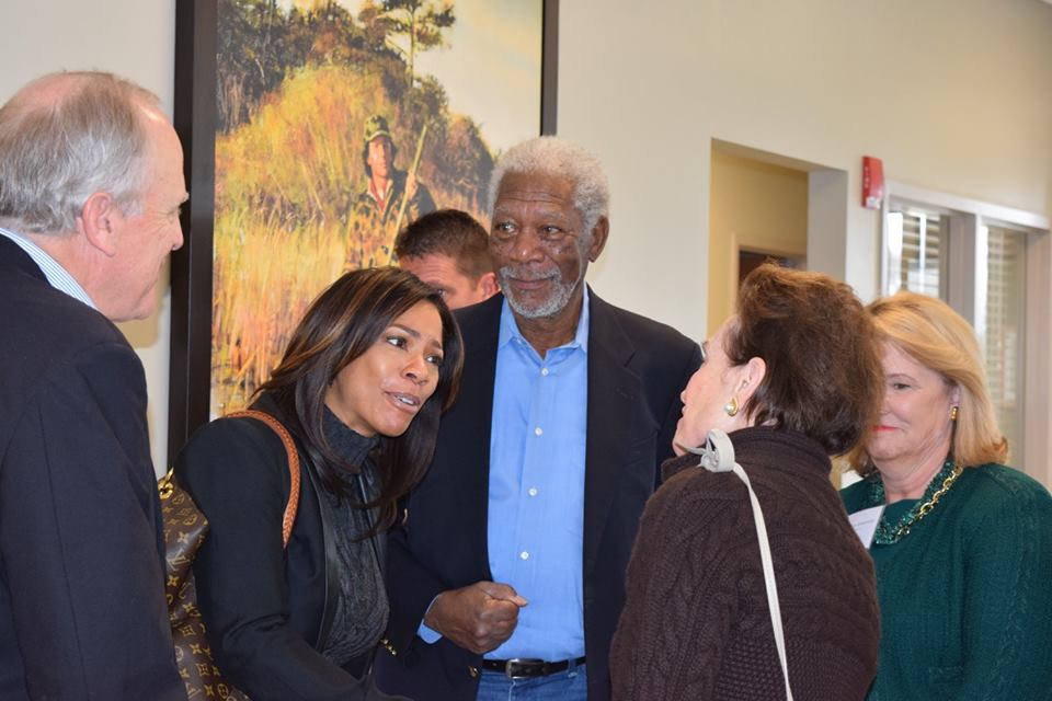 Morgan Freeman at the grand opening of the James C. Kennedy Wellness Center. Morgan is a native and resident of Charleston, Tallahatchie County.