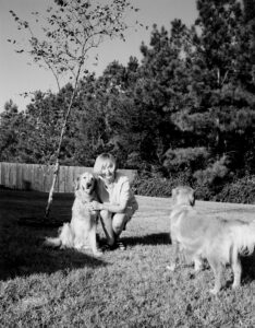 Karen Brown with her beloved dogs.