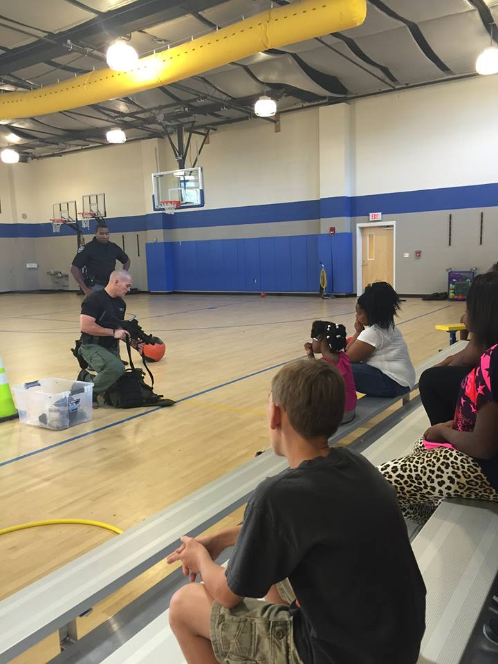 The SWAT officers visited the campers on Thursday, July 14. (Picture from Facebook.com / Oxford MS Police Department)