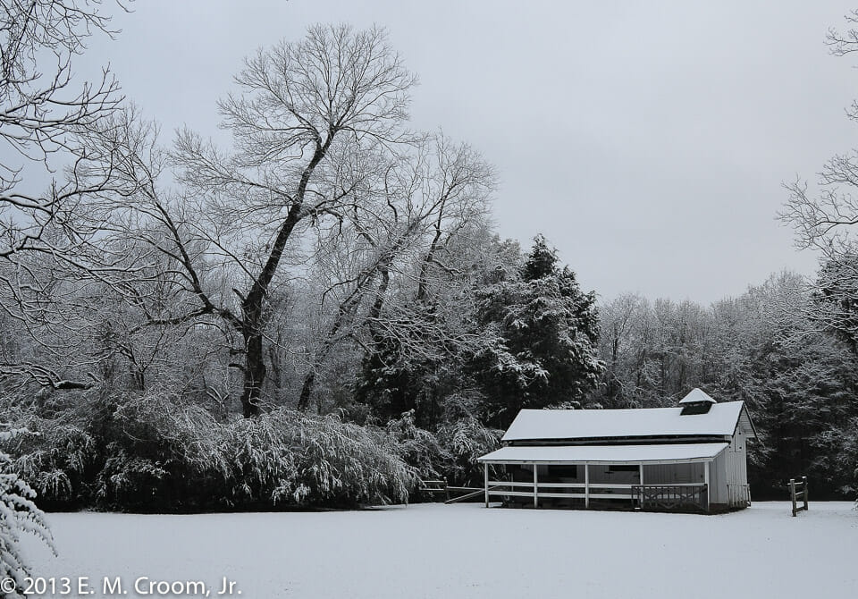 """Faulkner's Stables Covered in Snow"" Photo by Ed Croom, Jr."
