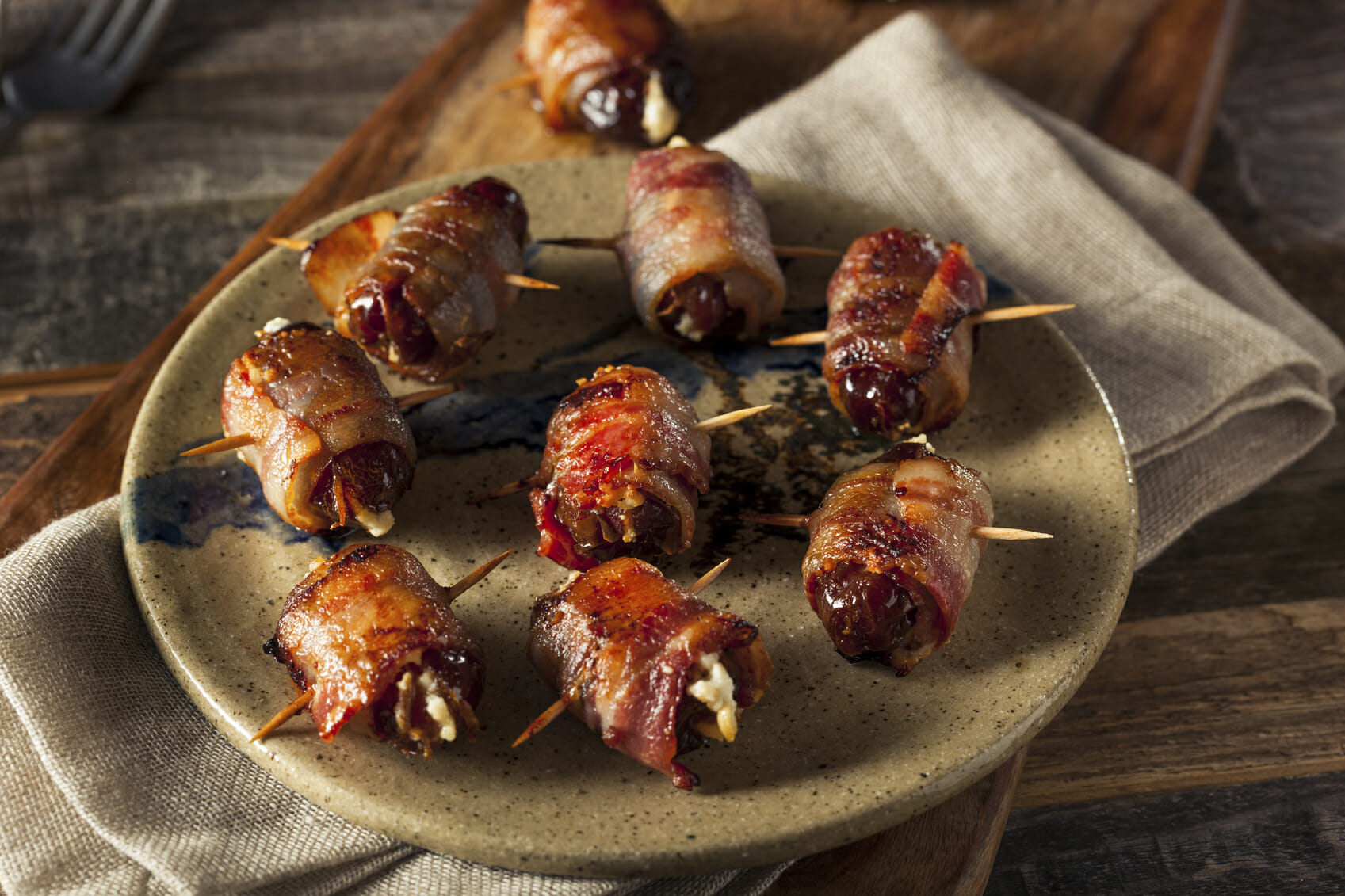 Homemade Bacon Wrapped Dates with Goat Cheese