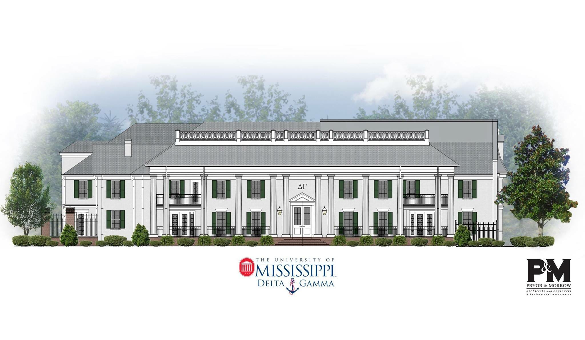 Front elevation of the future Delta Gamma house to be completed by Aug. 2017. The new house will be double the size of the previous house.