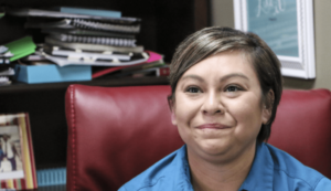 Andrea Kihega is a student in the immersion classes. She now knows enough to text in Chickasaw.