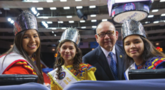 Gov. Bill Anoatubby with young friends at Chickasaw Youth Day. Photo courtesy of Chickasaw Nation.