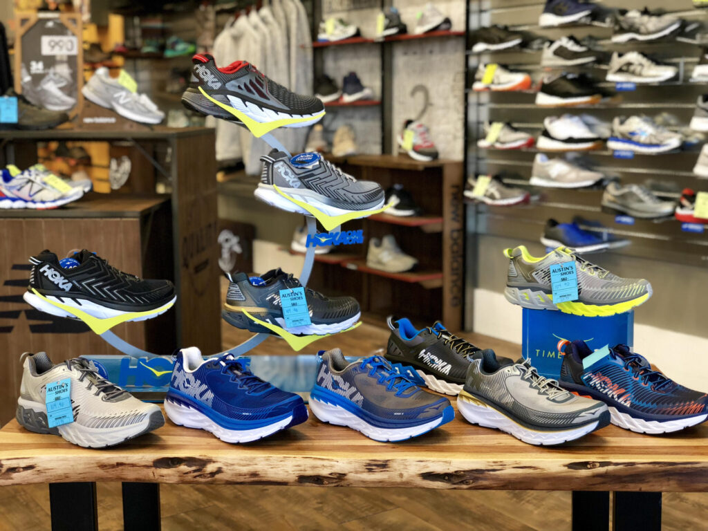 12212717f0e1f Athletic shoes are another focus for this Austin s Shoes location. Hoka is  a hot new brand in technical footwear