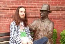 J-MAN visits with Mr. Faulkner on the Square.